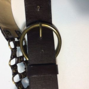 Not Rated Accessories - Brown Leather Belt With Ring Sections Size Large